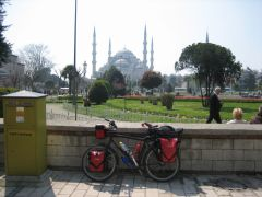 Bike in front on Blue Mosque