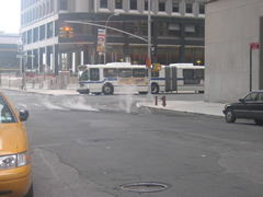Steam rising from Manhattan St