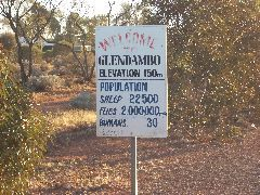 Glendambo Population sign